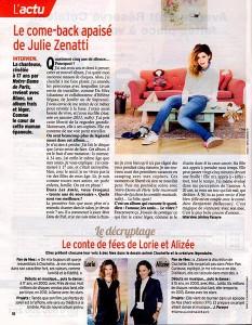"""Article dans """"Télé 7 jours"""" : Le come-back apaisé de Julie Zenatti"""