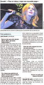 Article sur Julie dans Ouest-France Pays d'auge du 30 avril 2016
