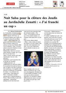 """Article dans """"La Dépêche"""" - Julie Zenatti / J'ai franchi un cap"""