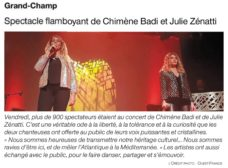 Article Ouest France pour le concert de Julie et Chimène à Grand Champ